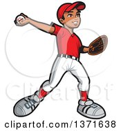 Clipart Of A Black Baseball Player Boy Pitching Royalty Free Vector Illustration by Clip Art Mascots