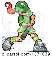 Clipart Of A Red Haired White Baseball Player Girl Batting Royalty Free Vector Illustration by Clip Art Mascots