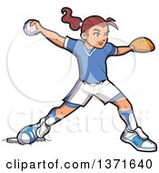 Poster, Art Print Of White Baseball Player Girl Baseman Or Pitcher Throwing