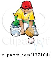 Clipart Of A Happy Hispanic Male Baseball Player Boy Stopping A Ground Ball Royalty Free Vector Illustration