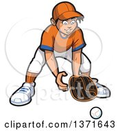 Happy Male Baseball Player Boy Outfielder Ready For A Ball