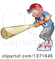 Happy Hispanic Male Baseball Player Boy Swinging A Bat