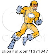Clipart Of A Tough Black Male Super Hero In A Yellow And Blue Suit Royalty Free Vector Illustration