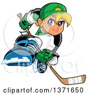 Clipart Of A Tough Blond White Boy Playing Hockey Royalty Free Vector Illustration