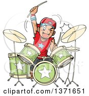 Clipart Of A Manga Boy Playing Drums Royalty Free Vector Illustration by Clip Art Mascots #COLLC1371651-0189