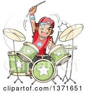 Manga Boy Playing Drums