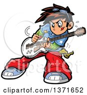 Clipart Of A Manga Boy Playing A Guitar Royalty Free Vector Illustration by Clip Art Mascots