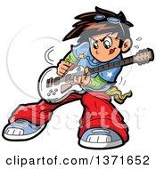 Manga Boy Playing A Guitar