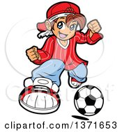 Clipart Of A Manga Boy Playing Soccer Royalty Free Vector Illustration by Clip Art Mascots