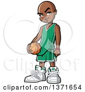 Clipart Of A Black Boy Holding A Basketball Royalty Free Vector Illustration
