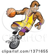 Clipart Of A Muscular Black Basketball Player In Action Royalty Free Vector Illustration by Clip Art Mascots