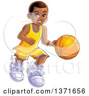 Clipart Of A Happy Black Boy Dribbling A Basketball Royalty Free Vector Illustration