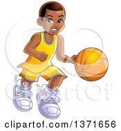 Happy Black Boy Dribbling A Basketball