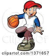 Clipart Of A Happy White Boy Playng Basketball Royalty Free Vector Illustration