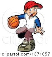Happy White Boy Playng Basketball