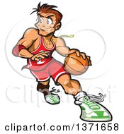 Clipart Of A Muscular White Man Playing Basketball Royalty Free Vector Illustration