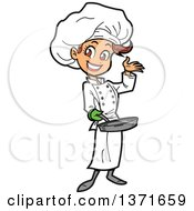 Happy White Female Chef Presenting And Holding A Pan