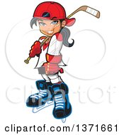Clipart Of A Manga Hockey Player Girl Royalty Free Vector Illustration by Clip Art Mascots #COLLC1371661-0189
