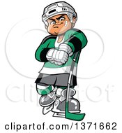 Clipart Of A Tough White Male Hockey Player Royalty Free Vector Illustration