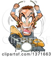 Clipart Of A Crazy White Male Metal Band Drummer Musician Royalty Free Vector Illustration by Clip Art Mascots