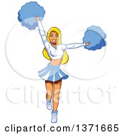 Clipart Of A Blond White Female Cheerleader Royalty Free Vector Illustration