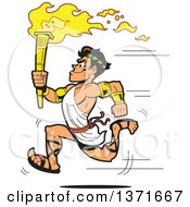 Clipart Of A Muscular Olympic Greek Torch Bearer Man Running In A Toga Royalty Free Vector Illustration