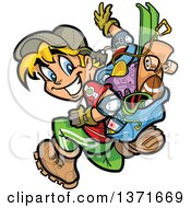 Clipart Of A Happy Blond White Boy With A Bag Full Of Sports Gear Royalty Free Vector Illustration