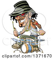 Clipart Of A Tattooed Music Band Drummer Royalty Free Vector Illustration by Clip Art Mascots
