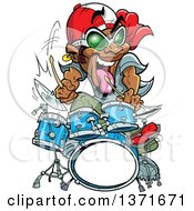 Clipart Of A Wild Energetic Black Male Drummer Royalty Free Vector Illustration by Clip Art Mascots