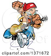 Clipart Of A Wild Crazy Band Guitarist Rock Star Royalty Free Vector Illustration