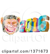 Clipart Of A Colorful Low Polygon Geometric New Year 2016 With A Monkey Face Royalty Free Vector Illustration by patrimonio