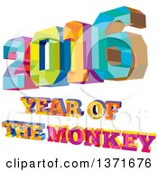 Clipart Of A Colorful Low Polygon Geometric 2016 With Year Of The Monkey Text Royalty Free Vector Illustration by patrimonio
