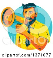 Clipart Of A Retro Wpa Styled Business Man Announcing Through A Megaphone In A Turquoise Circle Royalty Free Vector Illustration