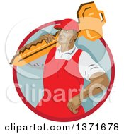 Clipart Of A Retro Wpa Styled Locksmith Carrying A Giant Key Over His Shoulder In A Red And Gray Circle Royalty Free Vector Illustration