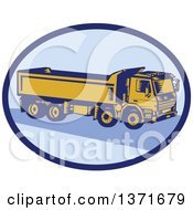 Clipart Of A Retro Woodcut Dump Truck In A Blue Oval Royalty Free Vector Illustration