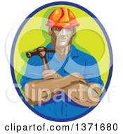 Retro Wpa Styled Construction Worker Holding A Hammer In Folded Arms Within A Blue And Green Oval