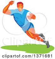 Clipart Of A Retro Wpa Styled Male Rugby Player Runing With A Ball Royalty Free Vector Illustration by patrimonio
