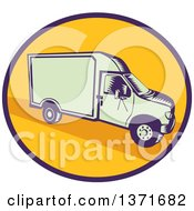 Retro Woodcut Delivery Truck Or Van In A Blue And Yellow Oval