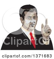 Clipart Of A Retro WPA Styled Business Man Holding Up A Finger Royalty Free Vector Illustration