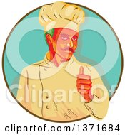 Clipart Of A Retro Wpa Styled Green Haired Chef With A Mustache Giving A Thumb Up And Emerging From A Brown And Turquoise Circle Royalty Free Vector Illustration by patrimonio