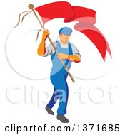 Clipart Of A Retro Wpa Styled Male Worker Marching Wtih A Flag Royalty Free Vector Illustration