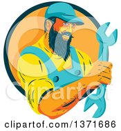 Clipart Of A Retro Wpa Styled Mechanic With A Beard Holding A Giant Wrench And Emerging From A Green And Orange Circle Royalty Free Vector Illustration