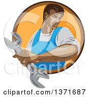 Clipart Of A Retro Wpa Styled Mechanic Holding A Wrench And Emerging From A Brown And Orange Circle Royalty Free Vector Illustration by patrimonio