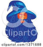 Clipart Of A Retro Wpa Styled Wizard Or God Odin With A Long Blue Beard Royalty Free Vector Illustration
