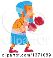 Clipart Of A Retro Wpa Styled Blue Haired Old Male Boxer Royalty Free Vector Illustration