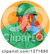 Clipart Of A Retro Wpa Styled WWII American Soldier Talking On A Field Radio In An Orange Circle Royalty Free Vector Illustration by patrimonio