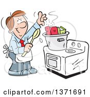Clipart Of A Cartoon Brunette Caucasian Man Cooking The Books On A Stove Royalty Free Vector Illustration by Johnny Sajem