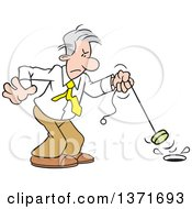 Clipart Of A Cartoon Gray Haired Caucasian Man Pulling The Plug To End A Project Royalty Free Vector Illustration by Johnny Sajem