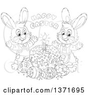 Clipart Of A Black And White Lineart Happy Easter Greeting Above Male And Female Bunny Rabbits A Cake And Eggs Royalty Free Vector Illustration
