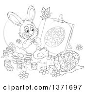 Clipart Of A Black And White Lineart Bunny Rabbit Painting A Canvas And Easter Egg A Butterfly Flying Above Royalty Free Vector Illustration